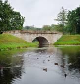Medieval stone bridge in Gatchina, town near Saint Petersburg — Stock Photo