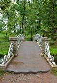 Old steel bridge in the palace park in Gatchina — Foto Stock