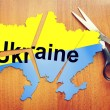 Cut map of Ukraine. Concept of disintegration of the country — Stock Photo #54540675