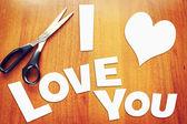 Scraps of paper with declaration of love — Stockfoto