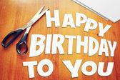Text Happy Birthday To You. Scraps of paper — Stockfoto