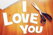 Text I Love You. Scraps of paper — Stock Photo