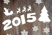 New Year wooden background with Santa Claus and deers characters — Foto de Stock