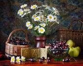 Still life with bouquet of camomile and cherries — Stock Photo