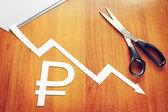 Concept of depreciation of the ruble — Stockfoto