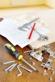 Still life with tools for furniture assembly — Foto Stock