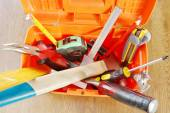 Plastic toolbox with various working tools. View from above — Stock Photo