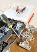 家具の組み立てのための様々 な作業ツール — ストック写真