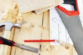 Still life with carpenter working tools on the workbench — Stock Photo