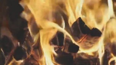 Flame burning in the furnace firebox — Stock Video