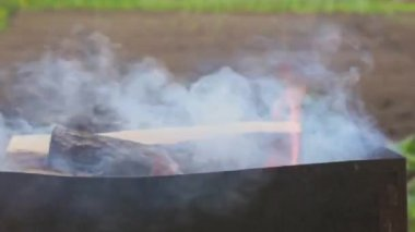Fire burning in a brazier — Stock Video