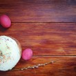 Composition about Orthodox Christian Easter with red eggs and a cake — Stock Photo #70053959