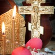 Orthodox Christian Easter still life with red eggs and metal ancient cross — Stock Photo #70054171