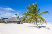Palm leaf roof bungalow on the tropical beach — Stock Photo