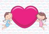 Angeli con cuore — Vettoriale Stock