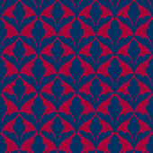 Damask beautiful background with rich, blue and red luxury ornaments, fashioned seamless pattern — Stock Vector