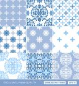 Islamic damask backgrounds blue set, beautiful ornamentation, fashioned seamless patterns — Stock Vector