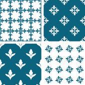 Vintage, damask backgrounds set, beautiful ornamentation, fashioned seamless patterns — Stock Vector
