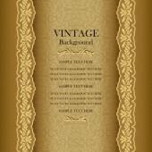 Vintage gold background, elegance antique, victorian,  floral ornamental greeting card — Stock Vector