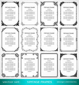Vintage frames and borders set, calligraphic, victorian, art ornamental photo frames — Stock Vector