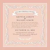 Vintage style wedding invitation card design, floral beautiful frame on rose background — Stock Vector