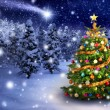 Christmas tree in snowy night — Stock Photo #57609975