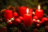 Advent wreath with 2 burning candles — Stock fotografie