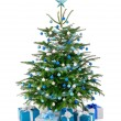 Christmas tree in blue and silver with gift boxes — Stock Photo #57610025