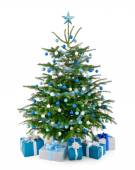 Christmas tree in blue and silver with gift boxes — ストック写真