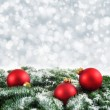 Red, green and silver Christmas background — Stok fotoğraf #58212967
