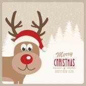 Reindeer santa hat snowy background — Stock Vector