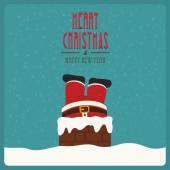 Santa stuck in chimney vintage snow background — ストックベクタ