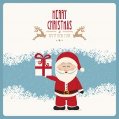 Santa claus hold gift merry christmas winter vintage — Stock Vector
