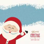 Santa claus wave side vintage merry christmas — Stock Vector