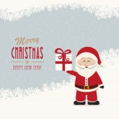 Santa claus hold gift winter snowy background — Stock Vector
