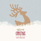 оленей веселый новогодний снежный фон — Cтоковый вектор