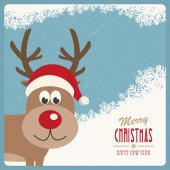 Red nose reindeer santa hat snowy winter background — Stock Vector