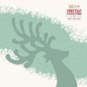 Reindeer merry christmas snowy background — Wektor stockowy