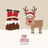 Santa vast te zitten in de schoorsteen vintage rendieren glimlach sneeuw achtergrond — Stockvector