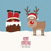 Santa stuck in chimney vintage reindeer smile snow background — Stock Vector