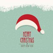 Santa hat merry christmas snowy background — Vetor de Stock