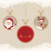 Christmas ball santa reindeer merry christmas snowflakes backgro — Stock Vector