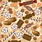 Seamless pattern with chocolate candy — Stock Vector