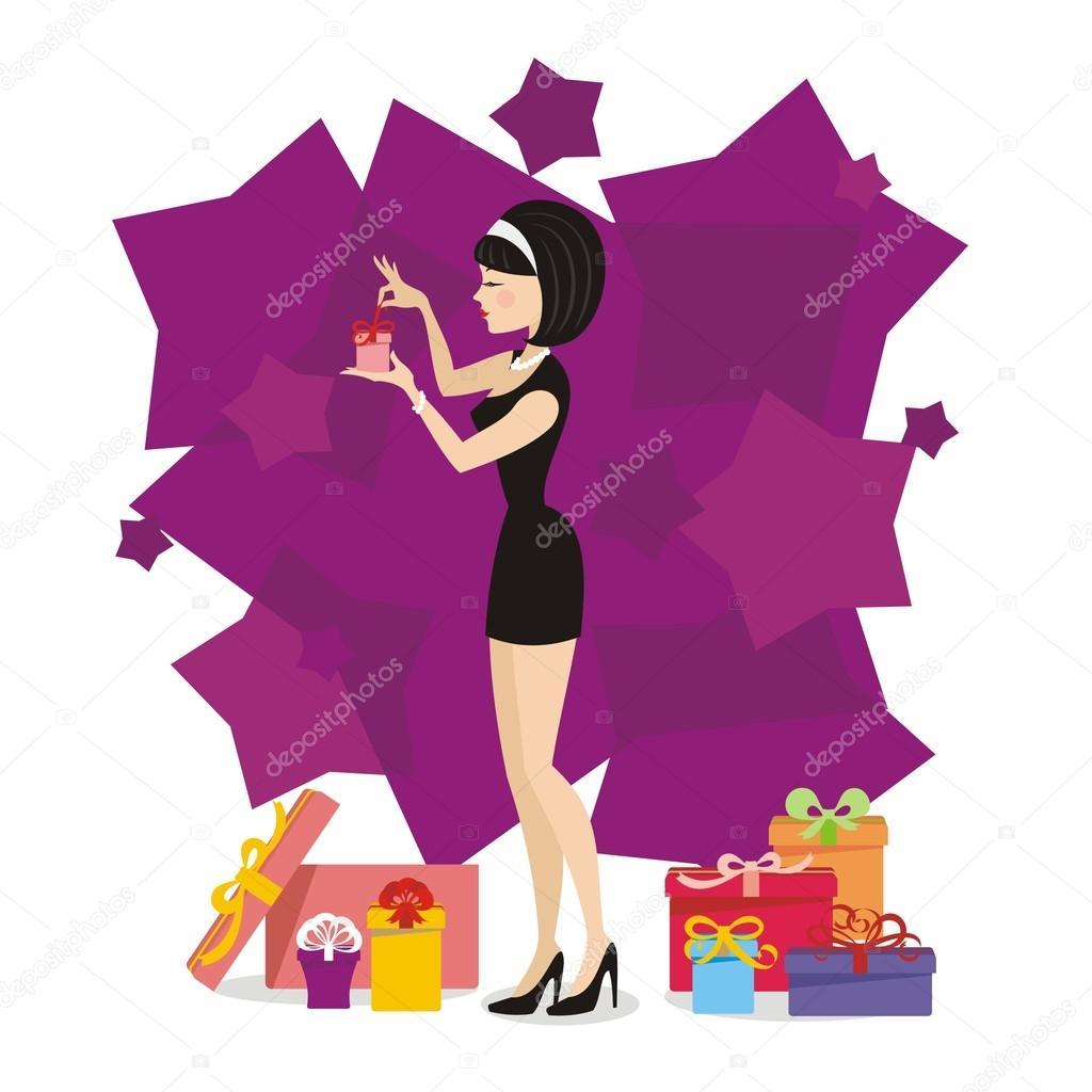 Девушка с подарками рисунок 315