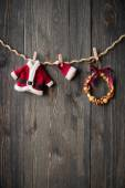 Christmas decoration over wooden background — Fotografia Stock