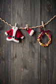 Christmas decoration over wooden background — Stock fotografie