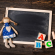 Chalk board and letters ABC — Stock Photo #65257085