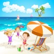 Kids playing at the beach — Stock Vector #52664415
