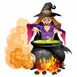Witch preparing a potion — Stock Vector #52664531