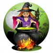 Witch preparing a potion — Stock Vector #52664541